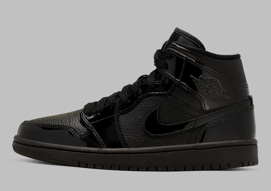 The Air Jordan 1 Mid Pairs Patent And Pebbled Leather