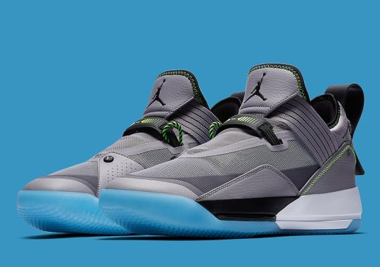 The Air Jordan 33 Low Appears In Cement Grey, Volt, And Blue
