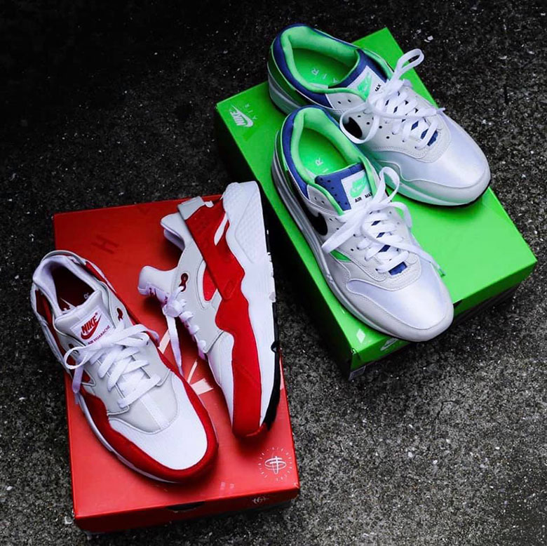 83c46a868a Nike Flips Colors On The Air Max 1 And Air Huarache For The DNA CH.