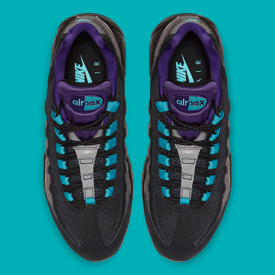 Nike Air Max 95 Black Court Purple Teal Nebula AO2450 002
