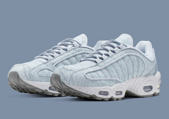 A Chilly Blue And Grey Print Appears On The Nike Air Max Tailwind IV SP