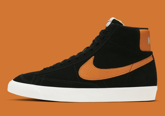 The Nike Blazer Mid Vintage Returns In Black And Orange Suede