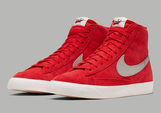 Nike Blazer Mid Vintage Gets Red Suede And Metallic Silver Swooshes