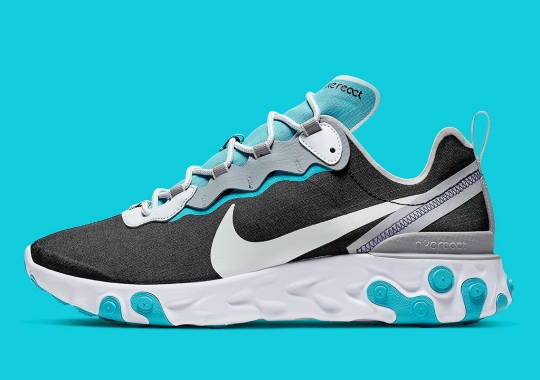 Turquoise Accents Appear On This Black And Silver Nike React Element 55