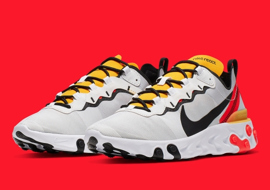 Another Stylish Nike React Element 55 Emerges With Yellow And Bright Crimson