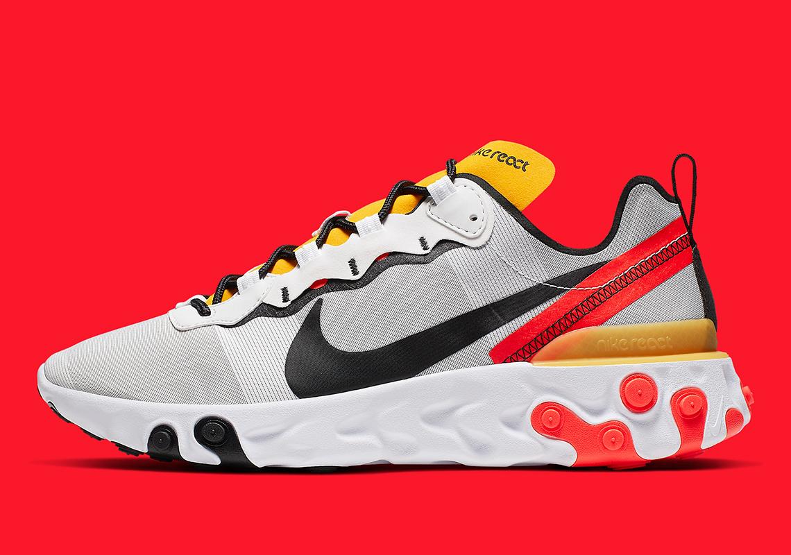 Nike React Element 55 White Yellow Red BQ6166 102 Release
