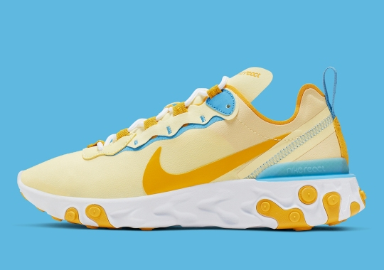 The Nike React Element 55 Appears In Butter Yellow Uppers
