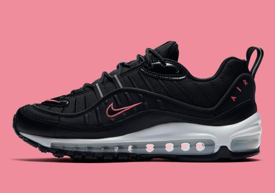 The Nike Air Max 98 Adds Crimson Accents With Black Patent Leather