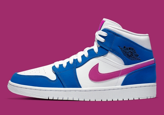 This Air Jordan 1 Mid Pairs Hyper Royal With Hyper Violet