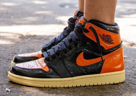 "Crinkled Patent Leather Appears On The Upcoming Air Jordan 1 ""Shattered Backboard 3.0"""