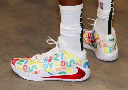 """Giannis Antetokounmpo Debuts Nike Zoom Freak 1 """"Alphabet Soup"""" PEs"""
