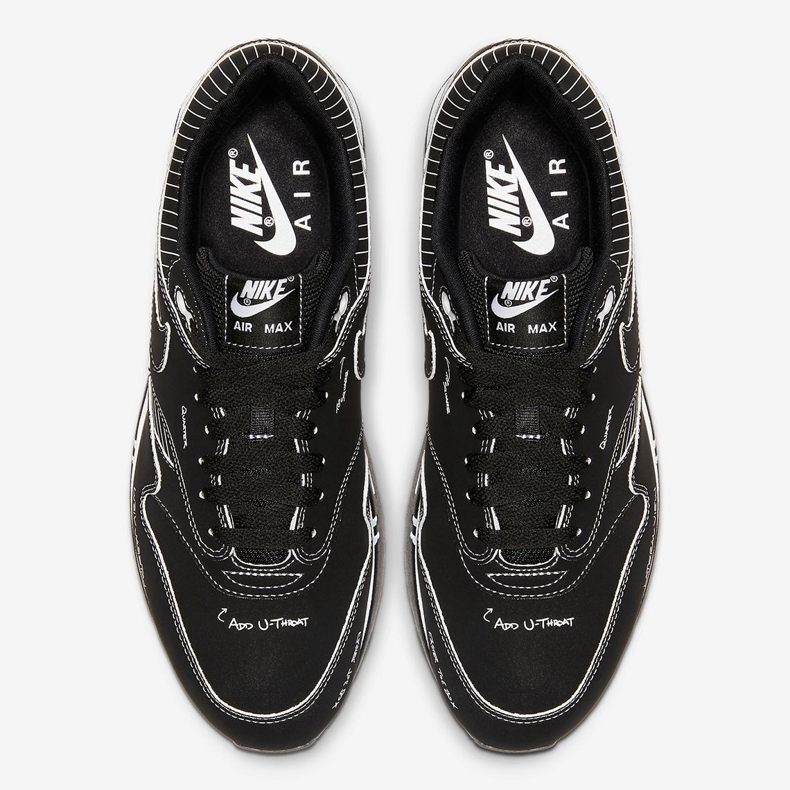 Nike Air Max 1 Tinker Hatfield Schematic Black Aug. 9, 2019