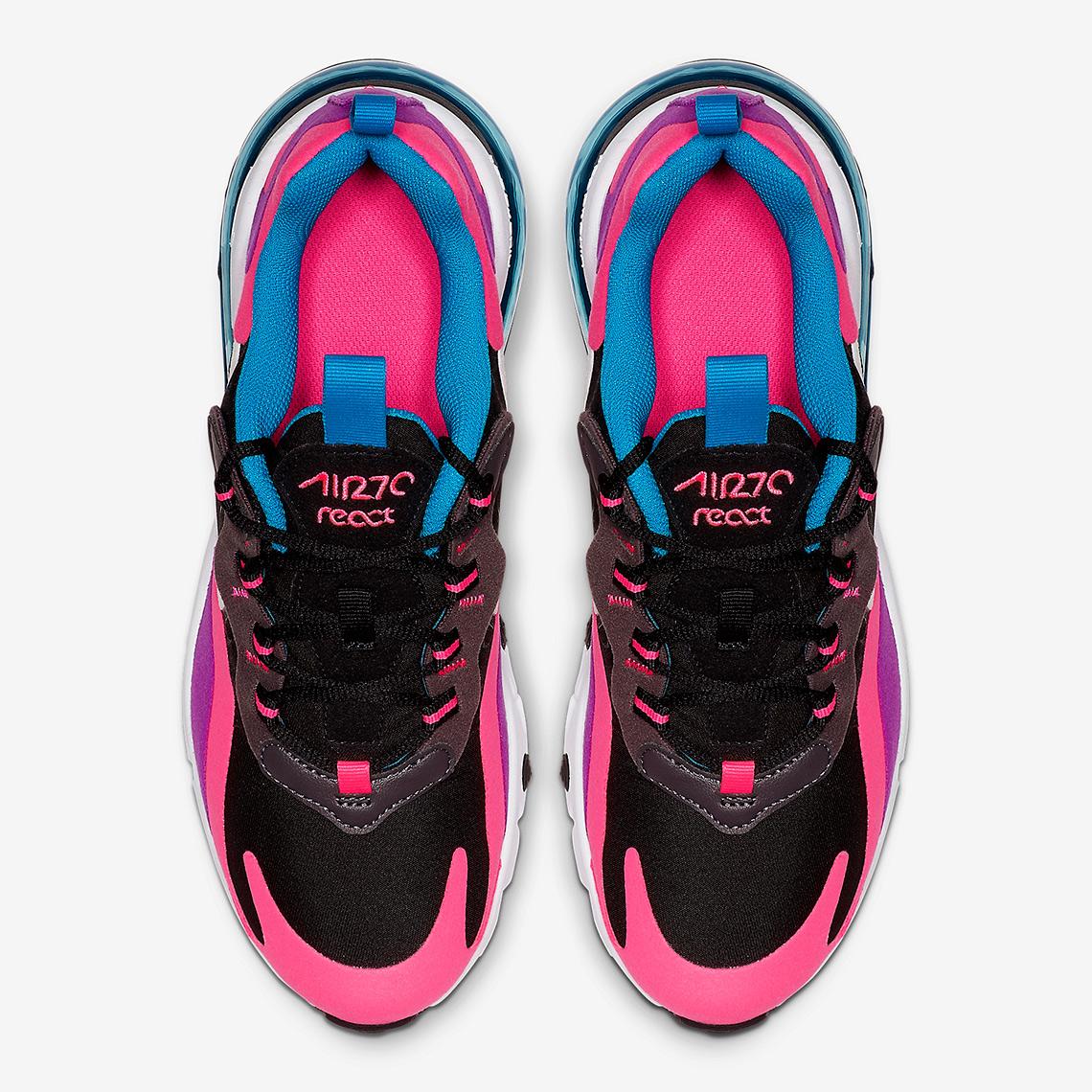 Nike Air Max 270 React BlackWhite Hyper Pink Vivid Purple