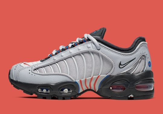 The Nike Air Max Tailwind IV Appears In A Grey, Blue, And Orange Mix