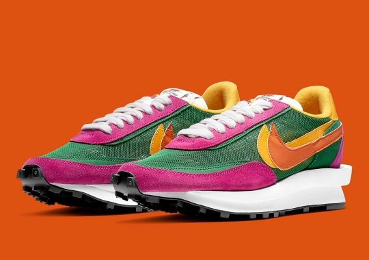 Official Images Of The sacai x Nike LDWaffle In Pine Green And Clay Orange