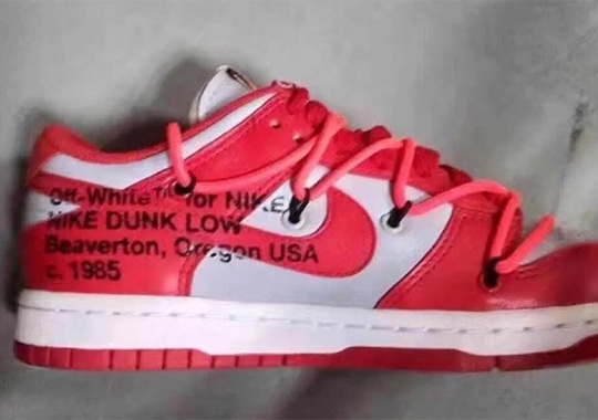 """First Look At The Off-White x Nike Dunk Low """"University Red"""""""