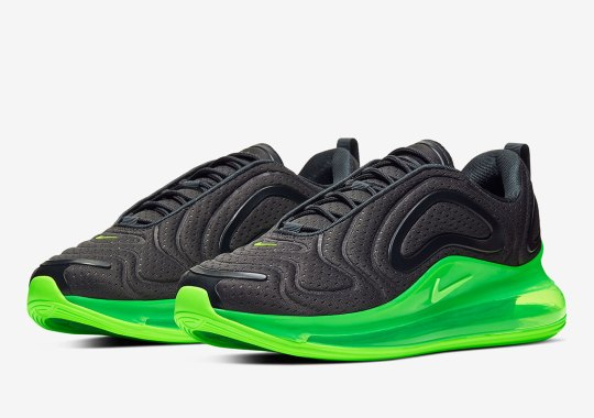 The Nike Air Max 720 Appears With Black Jersey Mesh And Neon Soles