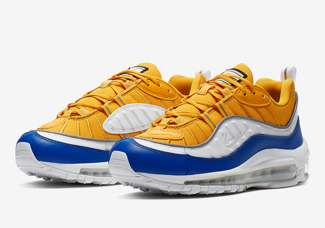 brand new 3fb89 24092 Nike Air Max 98 Yellow White Blue AT6640-700 Release Info ...