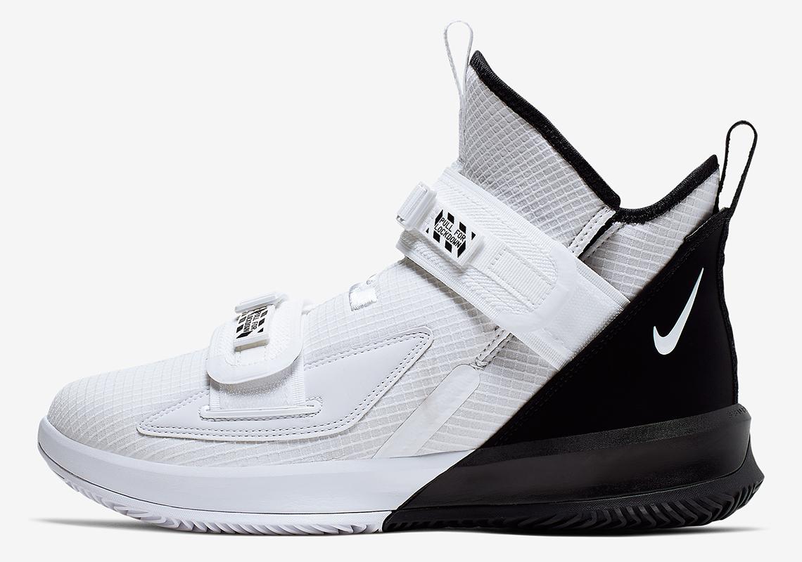 new product 6abc2 cda46 Nike LeBron Soldier 13 Black White | SneakerNews.com