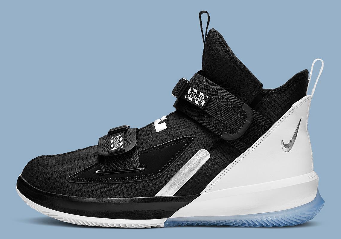 uk availability 3e709 bf54d Nike LeBron Soldier 13 Black White Chrome AR4225-001 Release ...