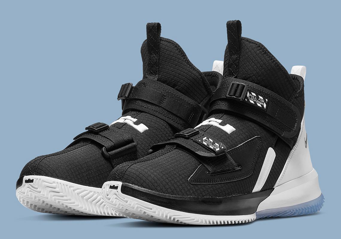 uk availability 48f14 e9188 Nike LeBron Soldier 13 Black White Chrome AR4225-001 Release ...