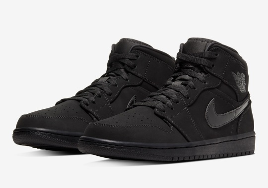 The Air Jordan 1 Mid Receives The Triple Black Color Treatment Once Again