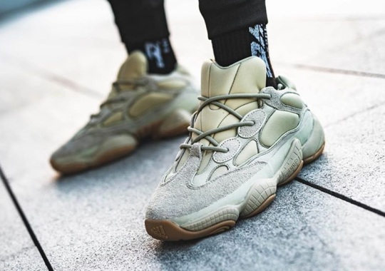 "Detailed On-Foot Look At The adidas Yeezy 500 ""Stone"""