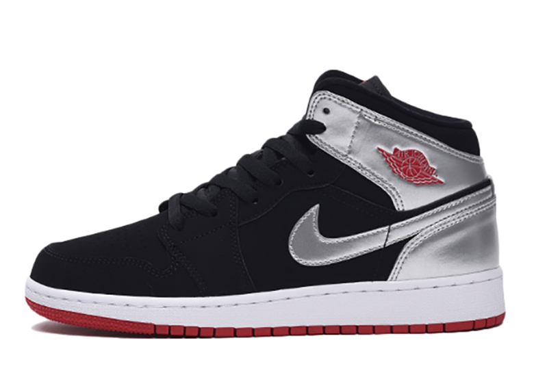 new product 4850e 8acac Air Jordan 1 Mid GS 554725-057 Silver Black Red ...