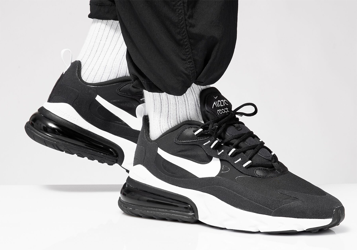 best website 265ab e0fb2 The Nike Air Max 270 React Gets A Clean Black and White ...