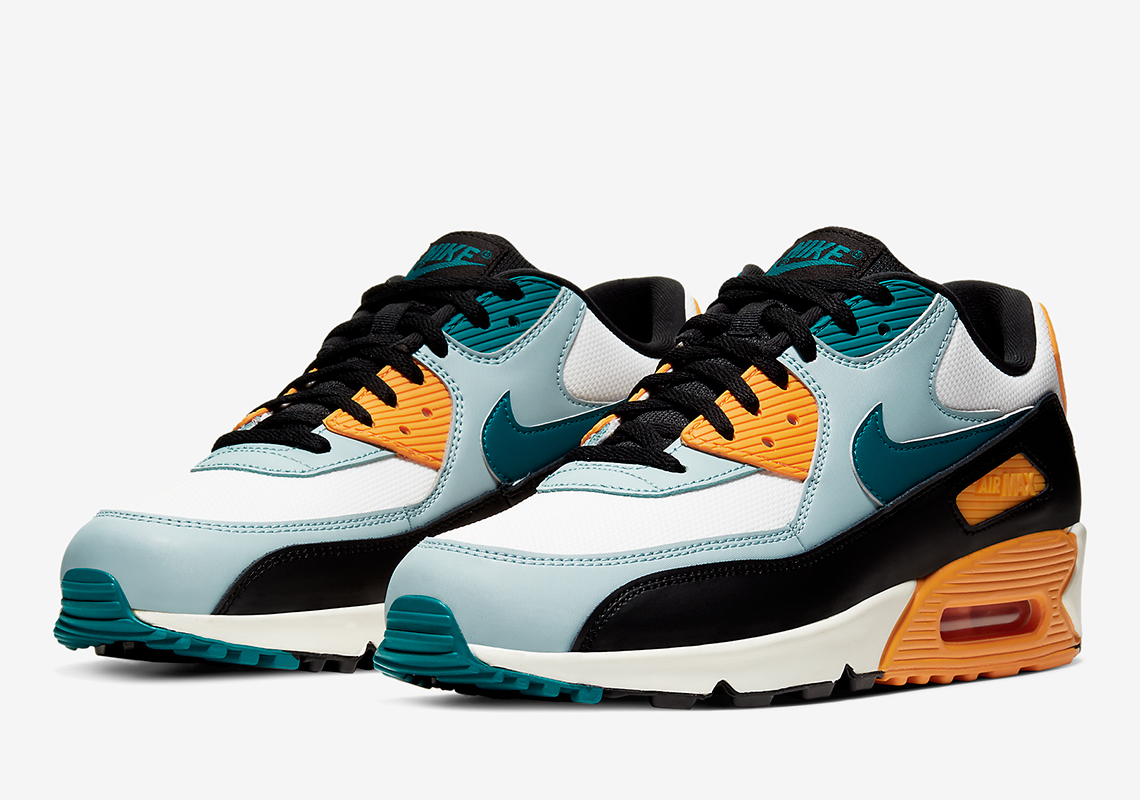 Nike Air Max 90 Essential In Teal And Golden Yelllow