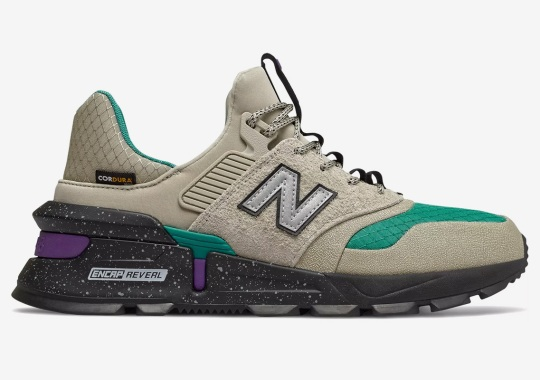 The New Balance 997S Cordura Pairs Up An Rock Grey With Green