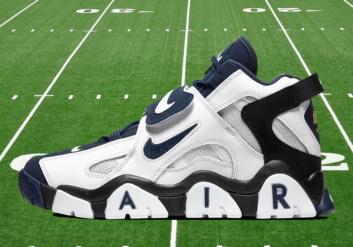 Nike Air Barrage Mid White Navy Gold AT7847-101 Release Info | SneakerNews.com