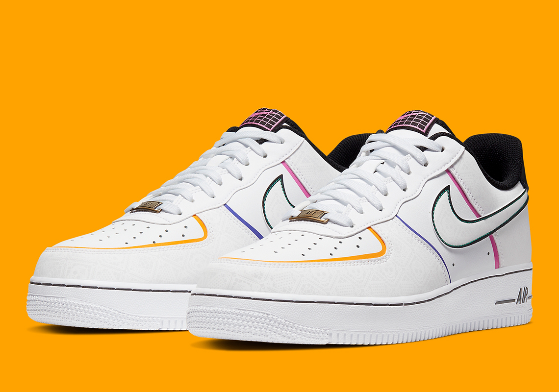 Nike Air Force One 1 /'07 Low Day of The Dead Yellow Green Blue Pink CT1138-100