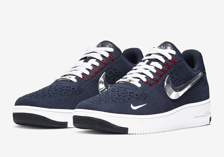 release info on outlet store buying cheap Nike Air Force 1 Flyknit New England Patriots Release Info