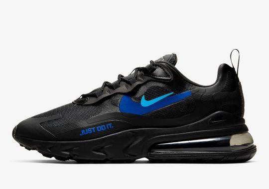 "The Nike Air Max 270 React ""Just Do It"" Gets Black Uppers With Two Tones Of Blue"