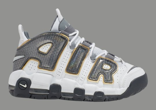 "The Nike Air More Uptempo GS Arrives With Snakeskin ""AIR"" Overlays"