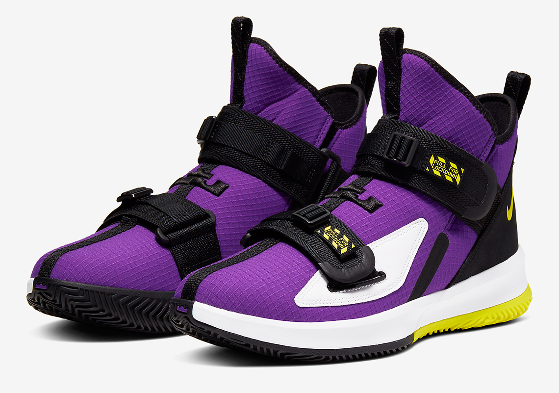 usa cheap sale best place attractive price Nike LeBron Soldier 13 Purple Yellow AR4225-500 ...