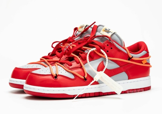 """The Off-White x Nike Dunk Low Will Release In """"University Red"""""""