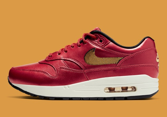 Golden Sequins Appear On This Nike Air Max 1 With Red Leather