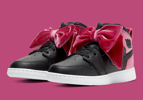 The Air Jordan 1 Mid Clips On Giant Pink Bows Exclusively For Girls