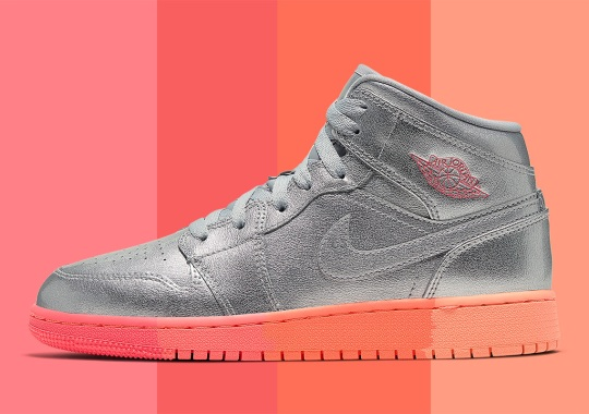 """The Air Jordan 1 Mid """"Metallic Silver"""" For Girls Adds A Multi-Colored Outsole"""
