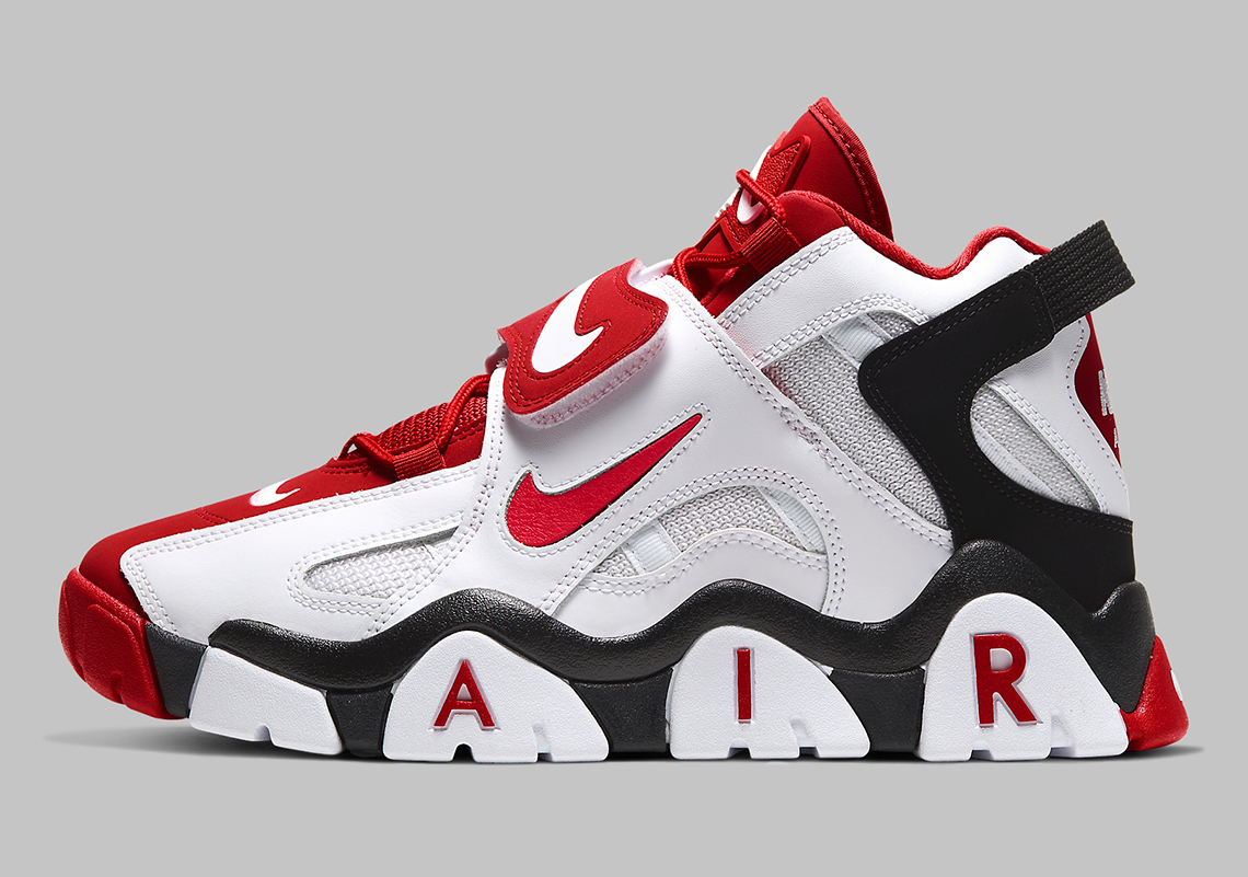 Nike Air Barrage Mid White Black Red AT7847-102 | SneakerNews.com