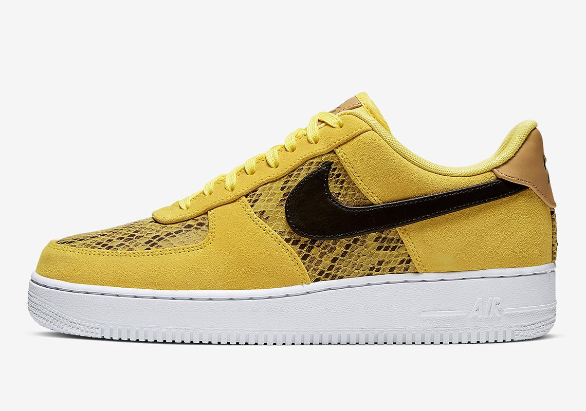 Nike Air Force 1 Yellow Snakeskin Bq4424 700 Release Date Sneakernews Com