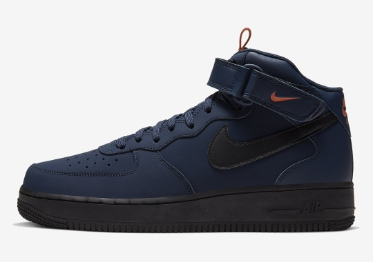 Nike Adds Tongue Pulltabs To This Air Force 1 Mid In Navy And Orange