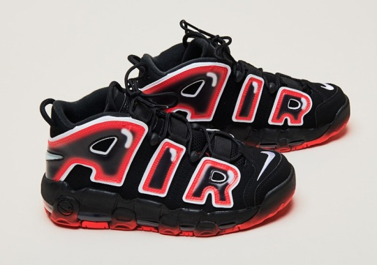 The Nike Air More Uptempo Appears In Black And Laser Crimson