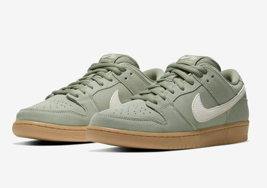 The Nike SB Dunk Low Pairs Island Green Suede With Solid Gum