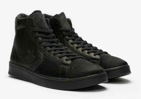 The Converse Pro Leather Mid Goes Triple Black With Leather And Pony Hair