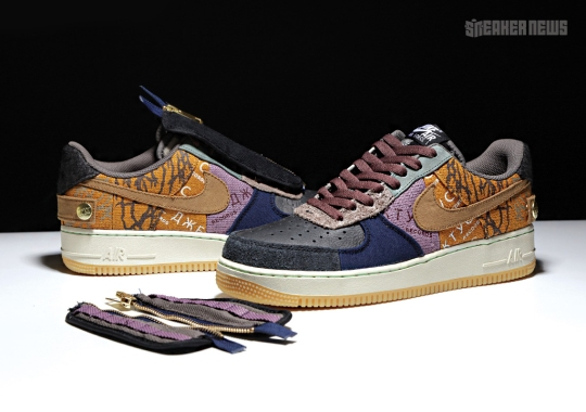 Here's What The Travis Scott Air Force 1 Low Looks Like With And Without The Shroud