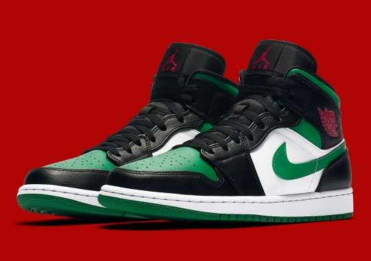 "The Air Jordan 1 Mid ""Green Toe"" Provides A Festive Look For The Upcoming Holiday"