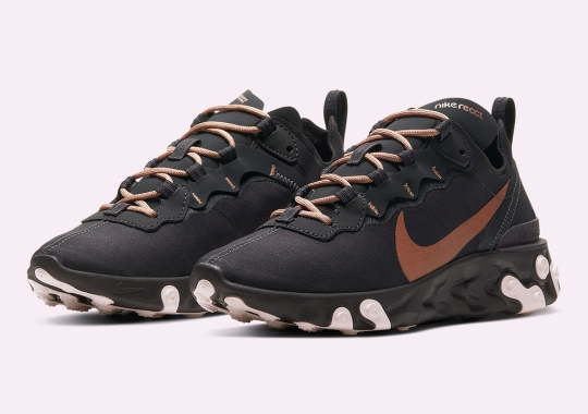 The Nike React Element 55 For Women Pairs Oil Grey With Maroon